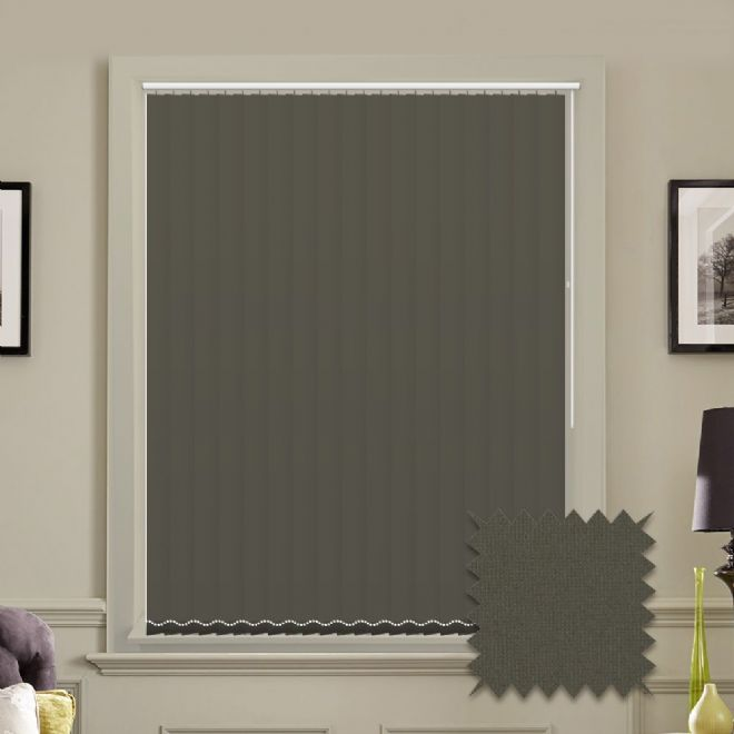 Made to measure vertical blinds in Guardian charcoal plain fabric - Just Blinds